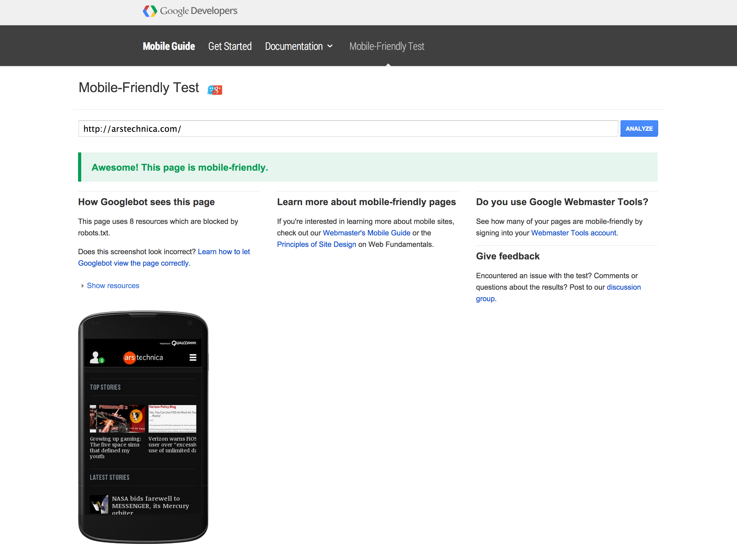 ArsTechnica gets Google's mobile-friendly seal of approval.