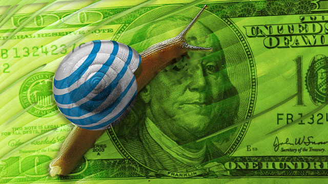 Illustration of a snail on a $100 bill; the snail has an AT&T logo.