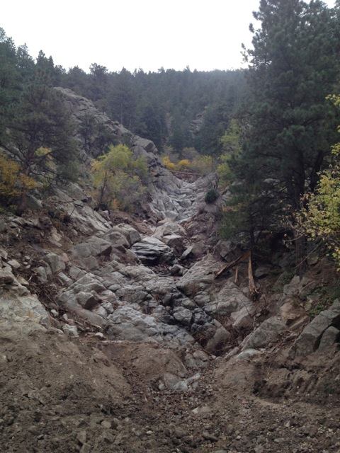 The path taken by a debris flow below a landslide in Boulder Canyon is obvious.