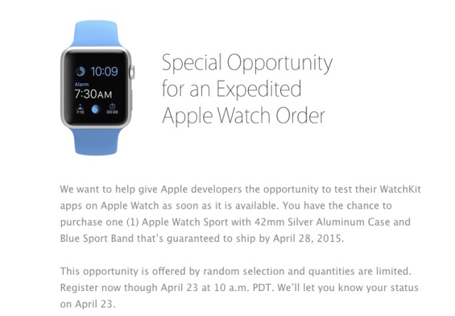 Apple offers developers a second chance at an early Apple Watch delivery
