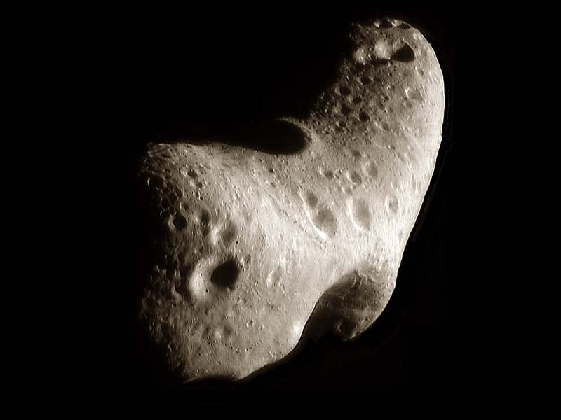 The potato-shaped near-Earth asteroid Eros may look harmless, but it's nearly 35km long.