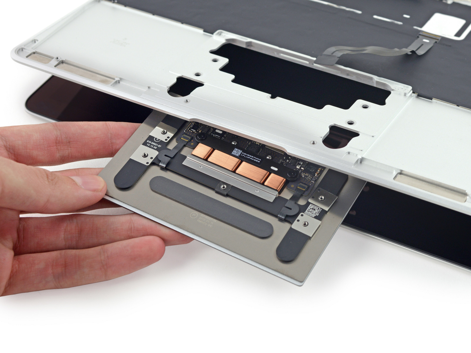 The Force Touch trackpad is a bit slimmer than the one in the MacBook Pro but is essentially the same part.