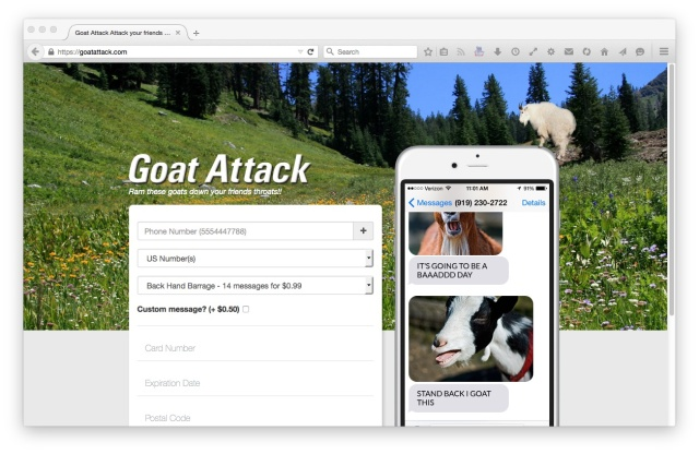 The now totally secure Goatattack.com, at ramming speed.