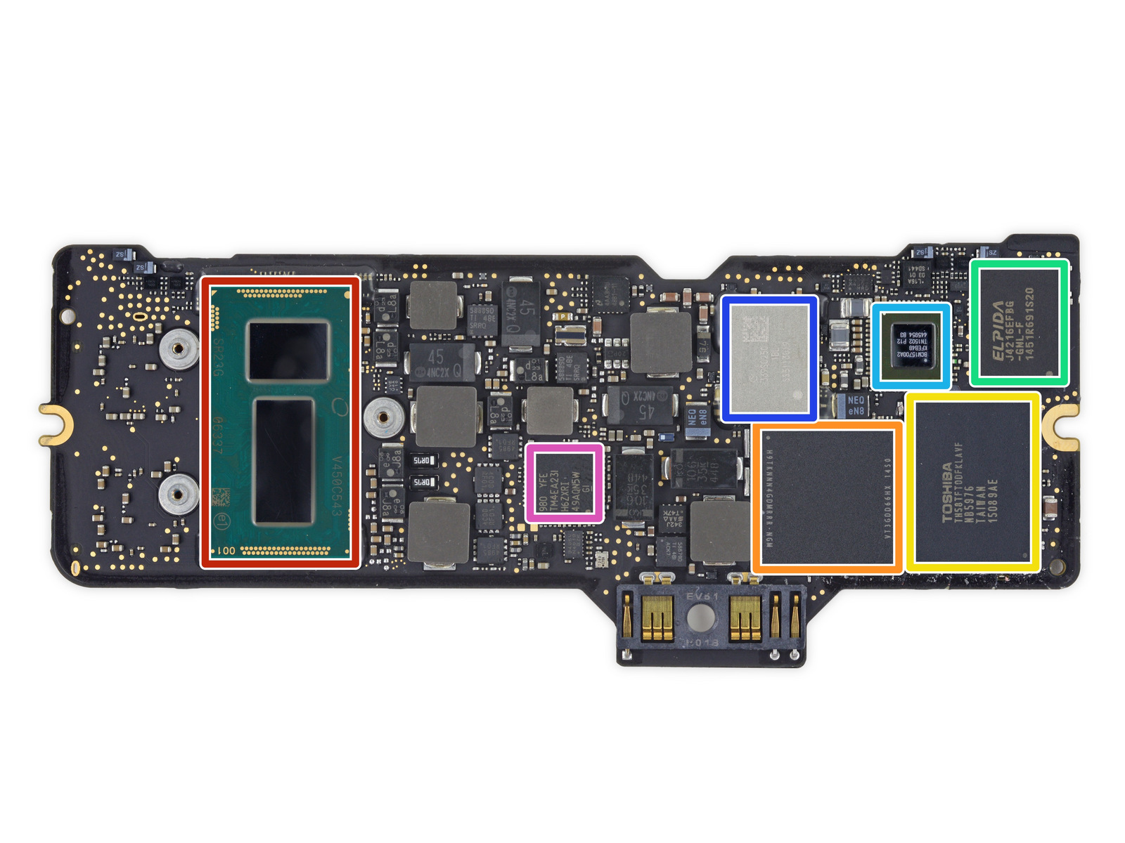 The CPU side of the logic board. It has various RAM chips, half of the SSD's flash, and some wireless adapters.