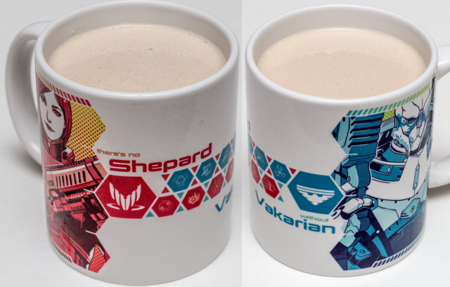 "New Soylent, new mug! <a href=""http://society6.com/product/shep--garrus_mug#27=199"">This one</a> is based on art from Wei723, and it holds one serving of Soylent and all the <em>Mass Effect</em> feels."
