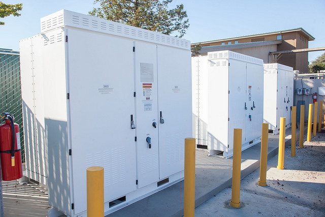 A row of business-class Tesla power packs at Jackson Family Wines.
