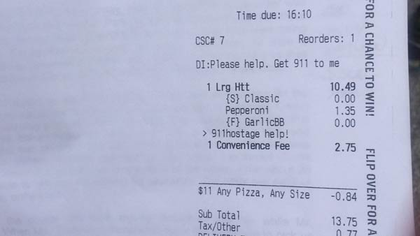 "Hostage saves herself via Pizza Hut app: ""Please help. Get 911 to me."""