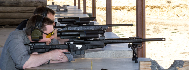 Lee firing TrackingPoint's .338 Lapua Magnum XS1 rifle in 2013.