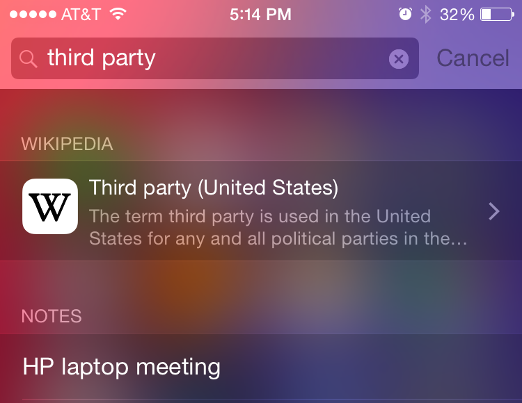 Spotlight got better in iOS 8, but let's let third-parties do more with it.
