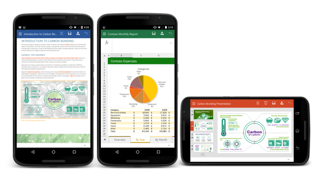 The new version of Microsoft Office on an Android phone.