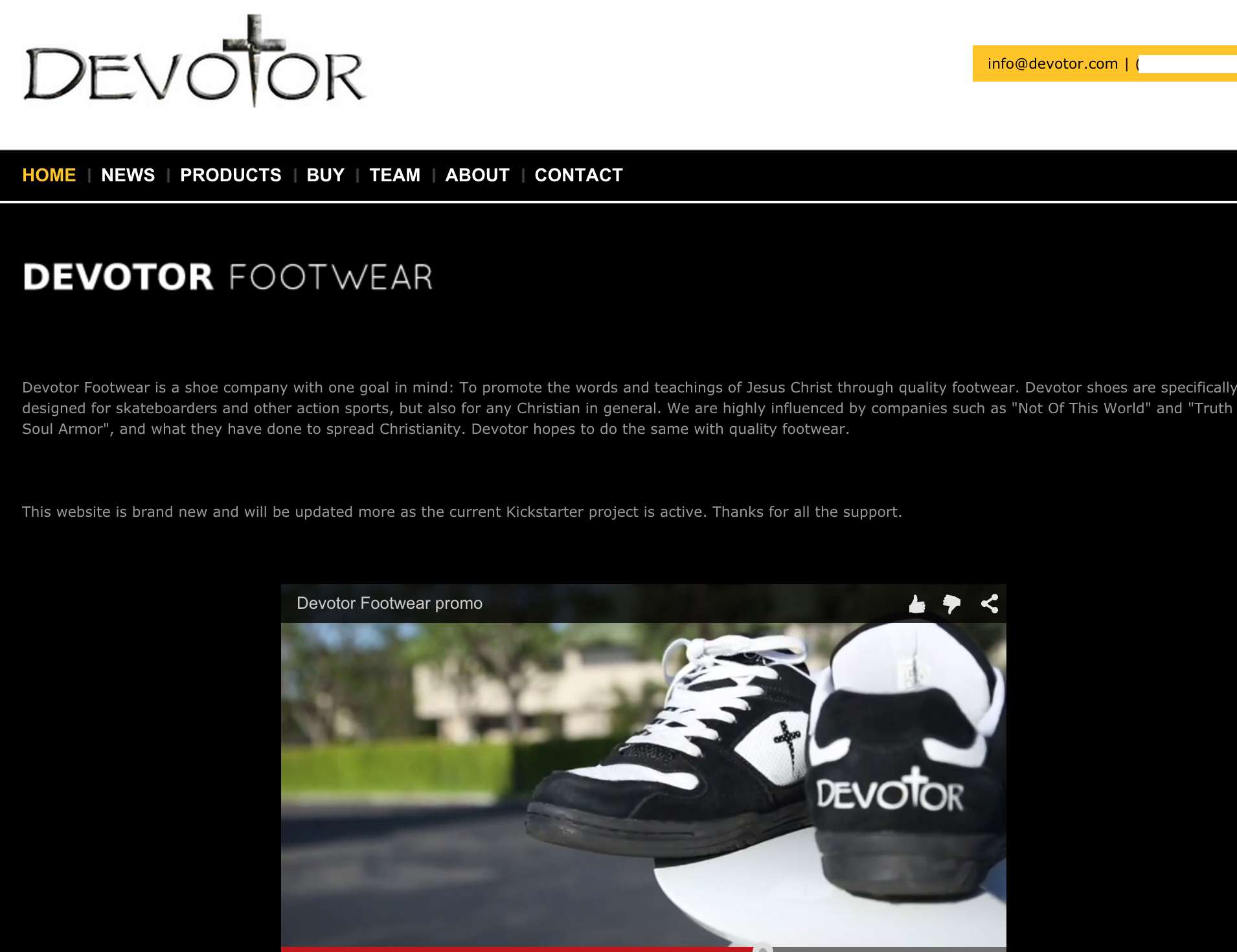 Devotor Footwear's site was fully live earlier today; as of press time, some of its pages appear to have been taken offline.