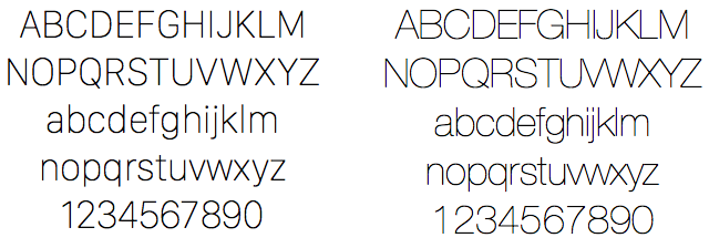San Francisco Display Ultralight (left) compared to Helvetica Neue Ultralight (right).