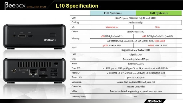 The Beebox's spec sheet.