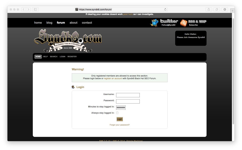 The forum on Syndk8.com. Definitely not an FBI forum (unless it's a honeypot).