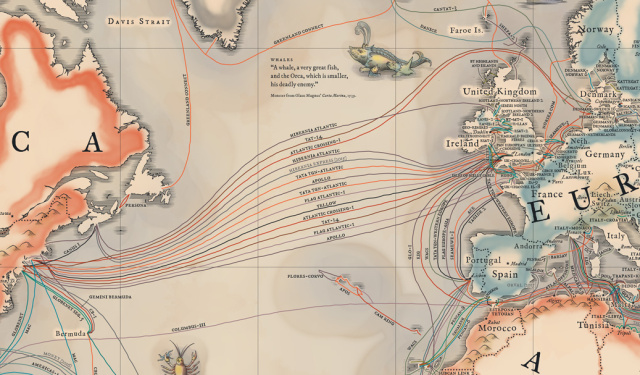 Submarine cable map for the Atlantic and Europe
