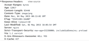 What you see if you look at the headers for my personal site—caching with HTTPS.