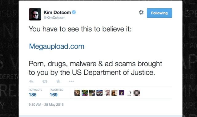 Kim Dotcom is shocked, shocked by what his domains were serving up today.