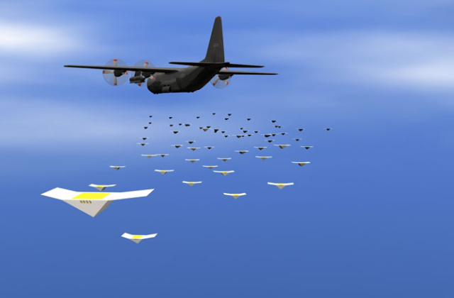 An artist's rendering of a swarm of Cicada micro-UAVs being dumped from a C-130—winged smartphones swarming to surveil.