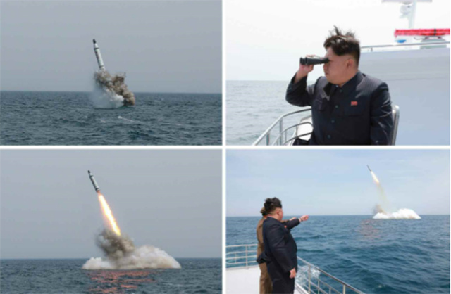 "North Korean press images of Kim Jong-un's successful supervision of the ""Polaris-1"" launch."