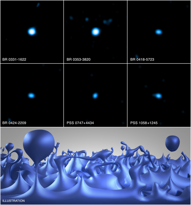 Six quasars as seen by the Chandra X-ray observatory, which place the strongest limits on the effects of quantum foam, shown in the bottom panel as imagined by an artist.