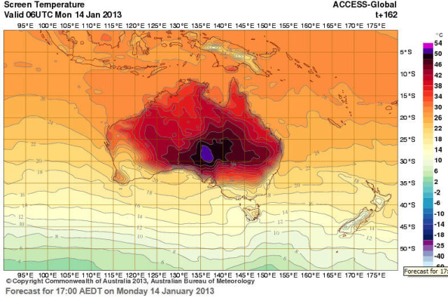 Australian weather forecasters had to add more colors to forecast maps due to rising temperatures.