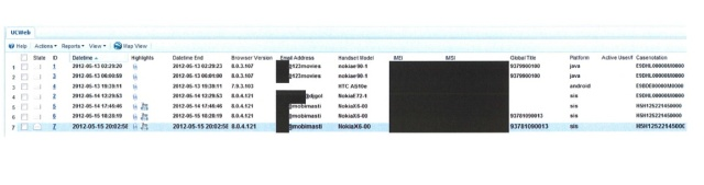 Data from the UCWeb browser exploit implanted by another country's intelligence agency, captured by XKeyscore.