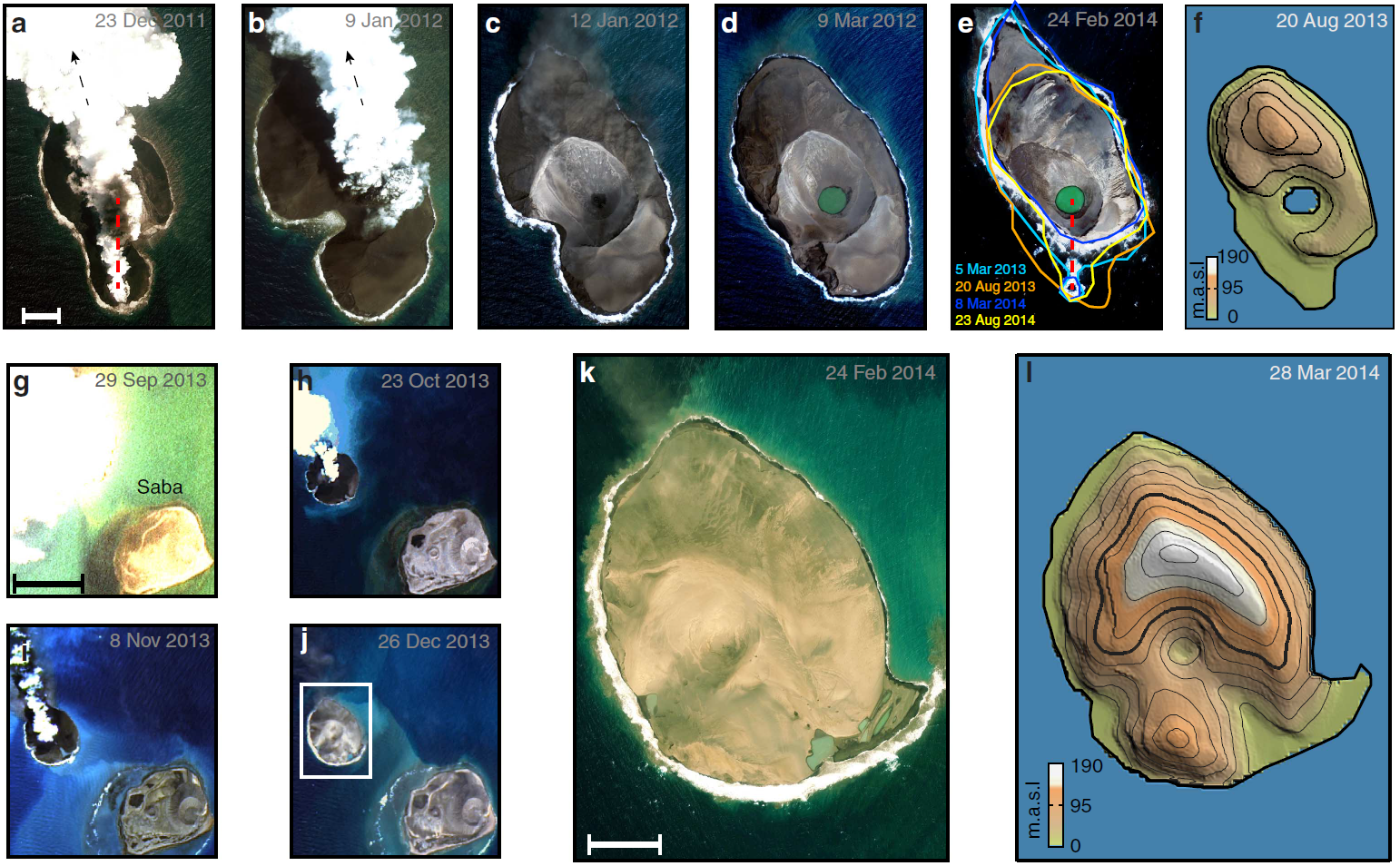 The top row of images shows the evolution of Sholan Island, while the lower images are of Jadid Island. The right-most images show elevation in meters above sea level.