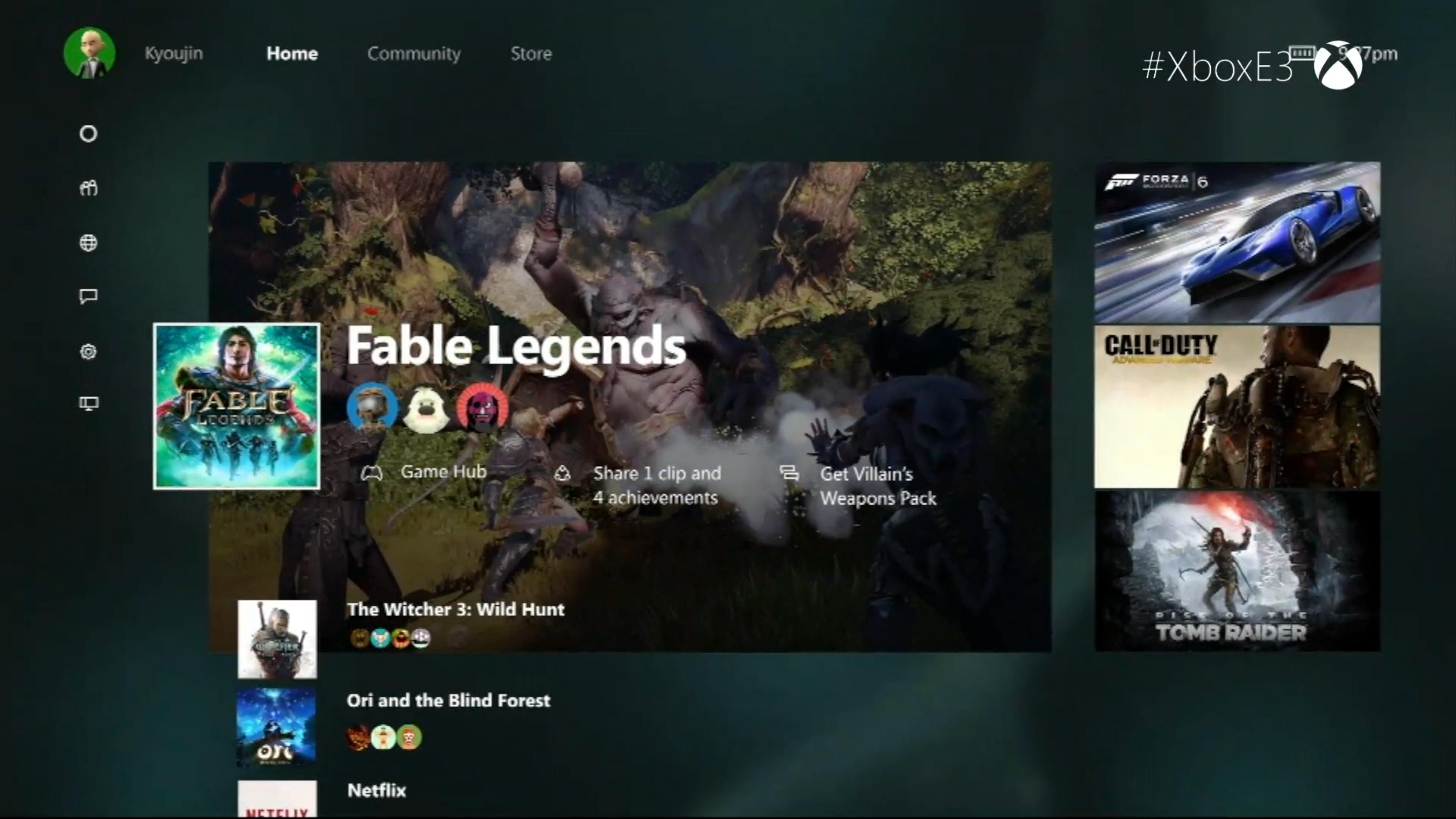 The new Xbox One UI, shown at E3.