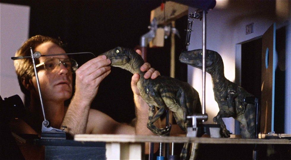 Randal Dutra, a longtime and award-winning animation professional who served as senior animator with Tippett Studios on <em>Jurassic Park</em> and was the animation director for <em>Lost World</em>. Here, Dutra stop-motion animates a raptor puppet for the Animatic phase of production, April 1992.