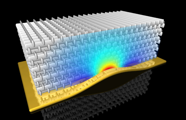 Carefully structured metamaterials, like this one, can redirect light.