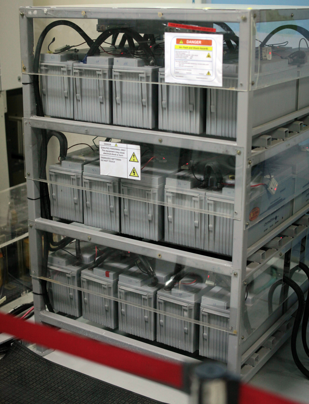 A stack of batteries used for testing in GE's renewable power lab.