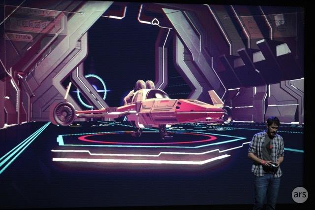 Sean Murray on stage at E3 demoing <em>No Man's Sky</em>.