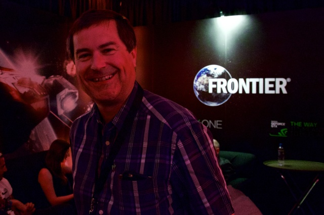Series creator David Braben in Frontier's demo suite at E3. There was lots of red lighting.