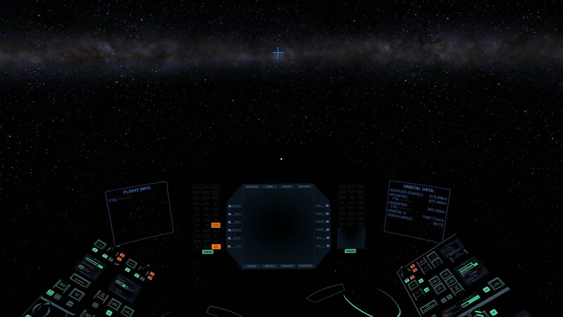 Looking out into the black from the cockpit of your FireArc.