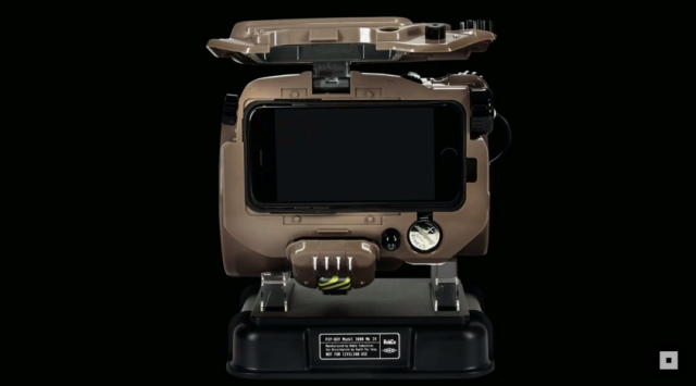 It's a Pip-Boy. A real one. You put your smartphone in it.