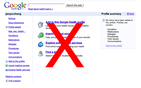 The now defunct Google Health.