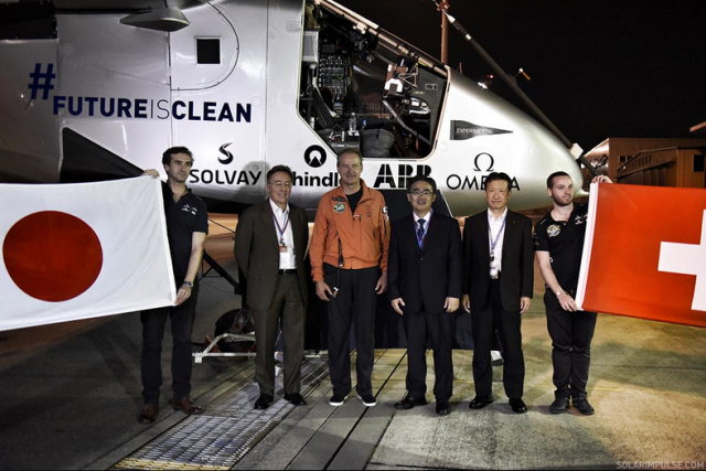 Solar Impulse 2 is a single-seat, solar-powered plane attempting to cross the Pacific. (Pictured in orange, center, is pilot/co-founder Andre Borschberg.)