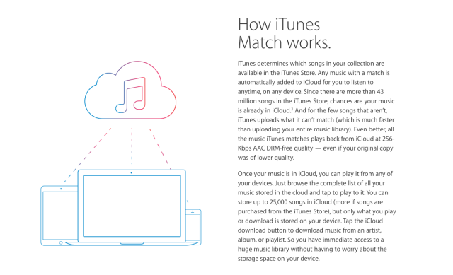 iTunes Match's functionality will be built into Apple Music.