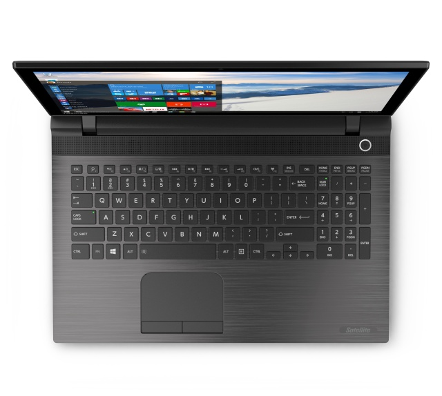 The Toshiba Satellite C shows off the Cortana button. It's the magnifying glass on the F1 key.