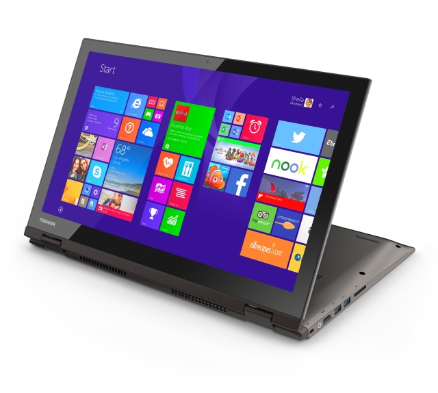 The Toshiba Satellite Radius 15 with its 4K screen. Folding the screen back like this is great for watching films and TV shows in cramped economy class seats.