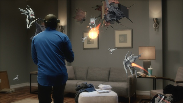 Warning: Actual visible hologram limited by HoloLens' startingly small field of view.