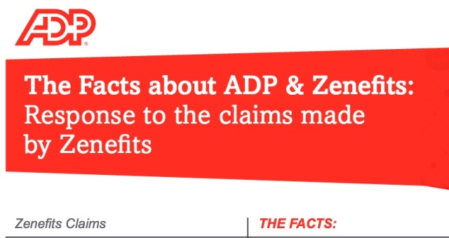 ADP's gone litigious after sparking a war of words with HR management provider Zenefits by unceremoniously cutting off customers' data access through the service.