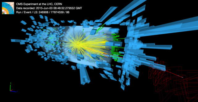 One of the first of today's collisions in the CMS detector.