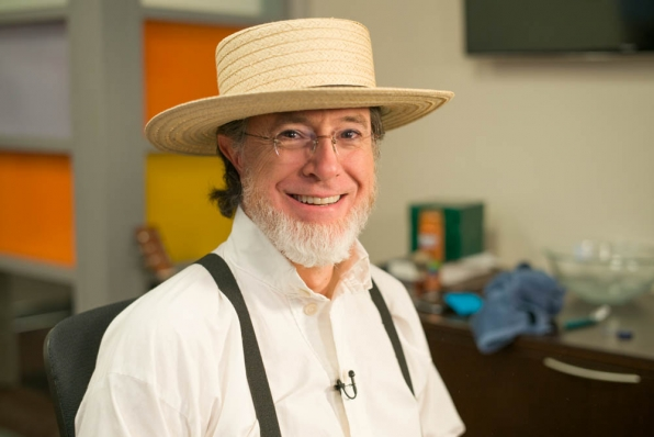 ColbertLateShow.com launched on Wednesday with a video in which comedian Stephen Colbert shaved his post-<em>Colbert Report</em> beard in various stages. Here, enjoy Amish Colbert.