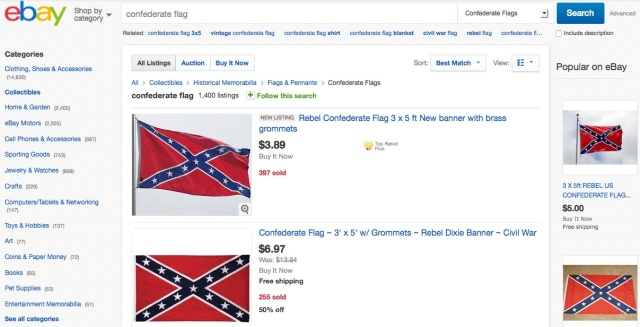 eBay bans Confederate battle flag, other items bearing racist icon