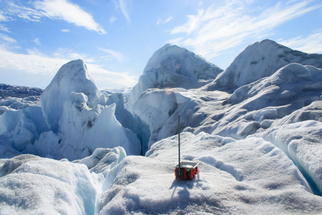One of the GPS devices waits to be wiggled by the birth of a big iceberg.