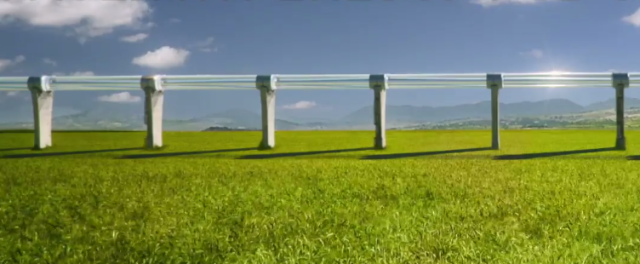 An artists's rendering of a Hyperloop track.