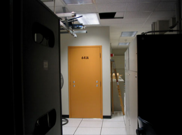 Whistleblower Mark Klein took this now 8-year-old photo of a secret room in a San Francisco AT&T switching center. Klein alleges the facility houses data-mining equipment enabling US agents access to electronic communications. His photo and other documents he obtained while a telco contractor prompted ongoing Fourth Amendment litigation.