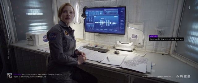 Jessica Chastain as mission commander Melissa Lewis—source of Watney's disco-related complaints.