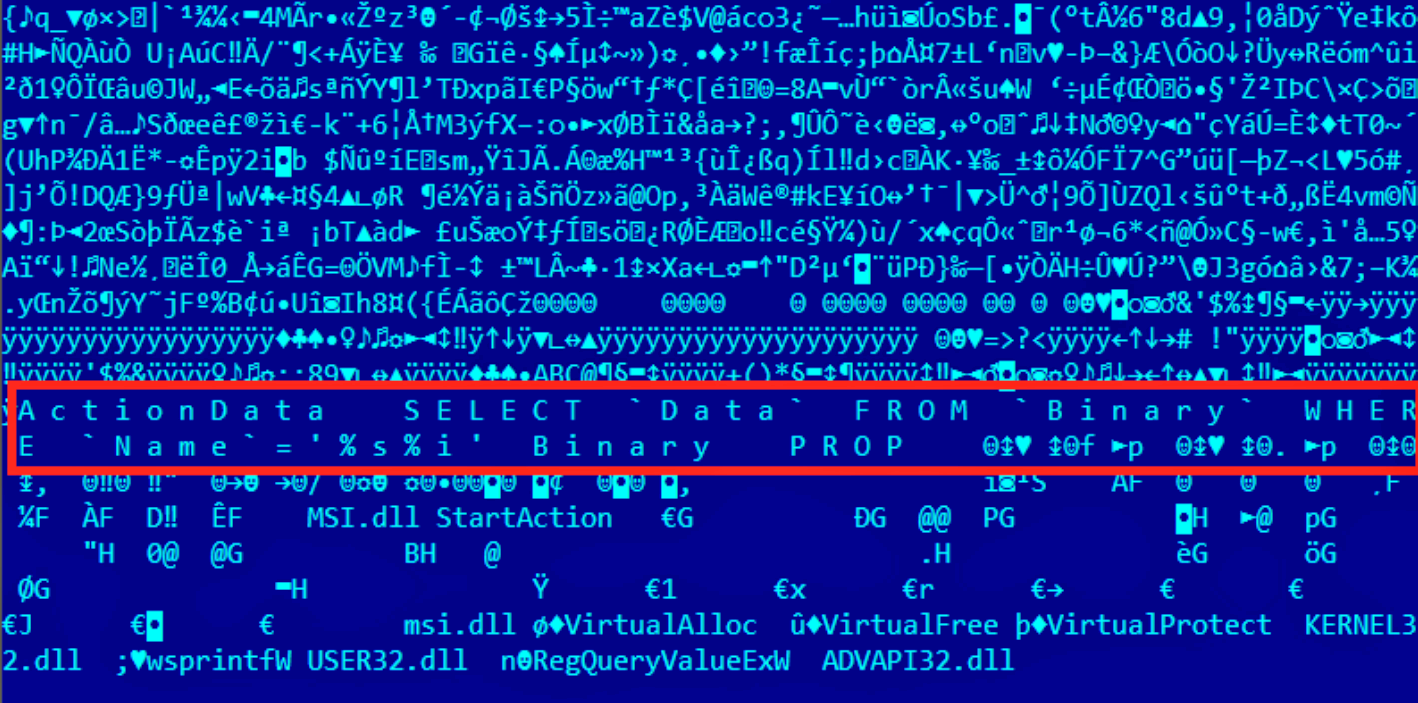Windows Installer files used by Duqu 2.0 contain a malicious stub that serves as a module loader. The stub loads the other malware resources directly from the MSI file and decrypts them, and then passes execution to the decrypted code in memory.